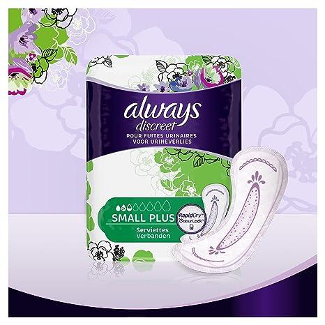Always Discreet Toallas sanitarias pequeñas plus para pérdida e incontinencia urinaria, juego de 2 x 16 unidades: Amazon.es: Salud y cuidado personal