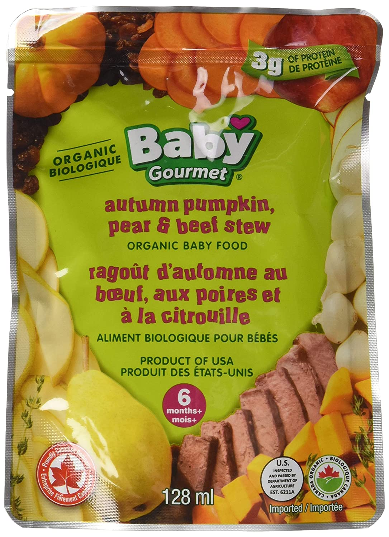 Baby Gourmet Autumn Pumpkin Pear and Beef Stew, Green, 128 Millilitre APPBSLACSCD0016