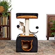 Prevue Pet Products Tiger Pattern Cat-Face Hide-Away with Lounger and Sisal Post