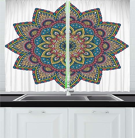 Amazon Com Ambesonne Mandala Kitchen Curtains Design In Colorful Vivid Scheme With Floral Leaves Details Artwork Window Drapes 2 Panel Set For Kitchen Cafe Decor 55 X 39 Multicolor Home Kitchen