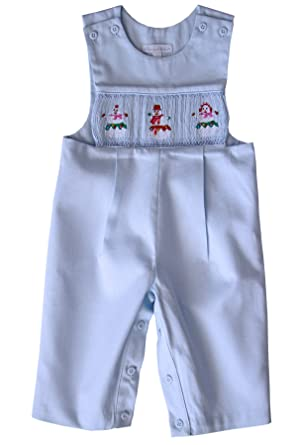 e433e1a08 Amazon.com: Hand Smocked Boys Christmas Snowman Longall Outfit: Clothing