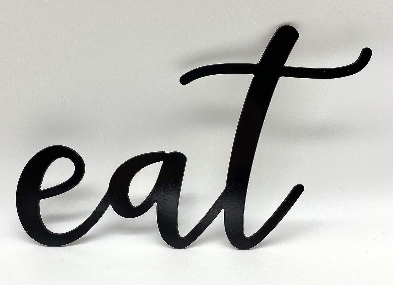 Epic Designs Eat Sign Metal Steel Plasma Cut Sign Script for Door Wall Bathroom Decoration (Black)