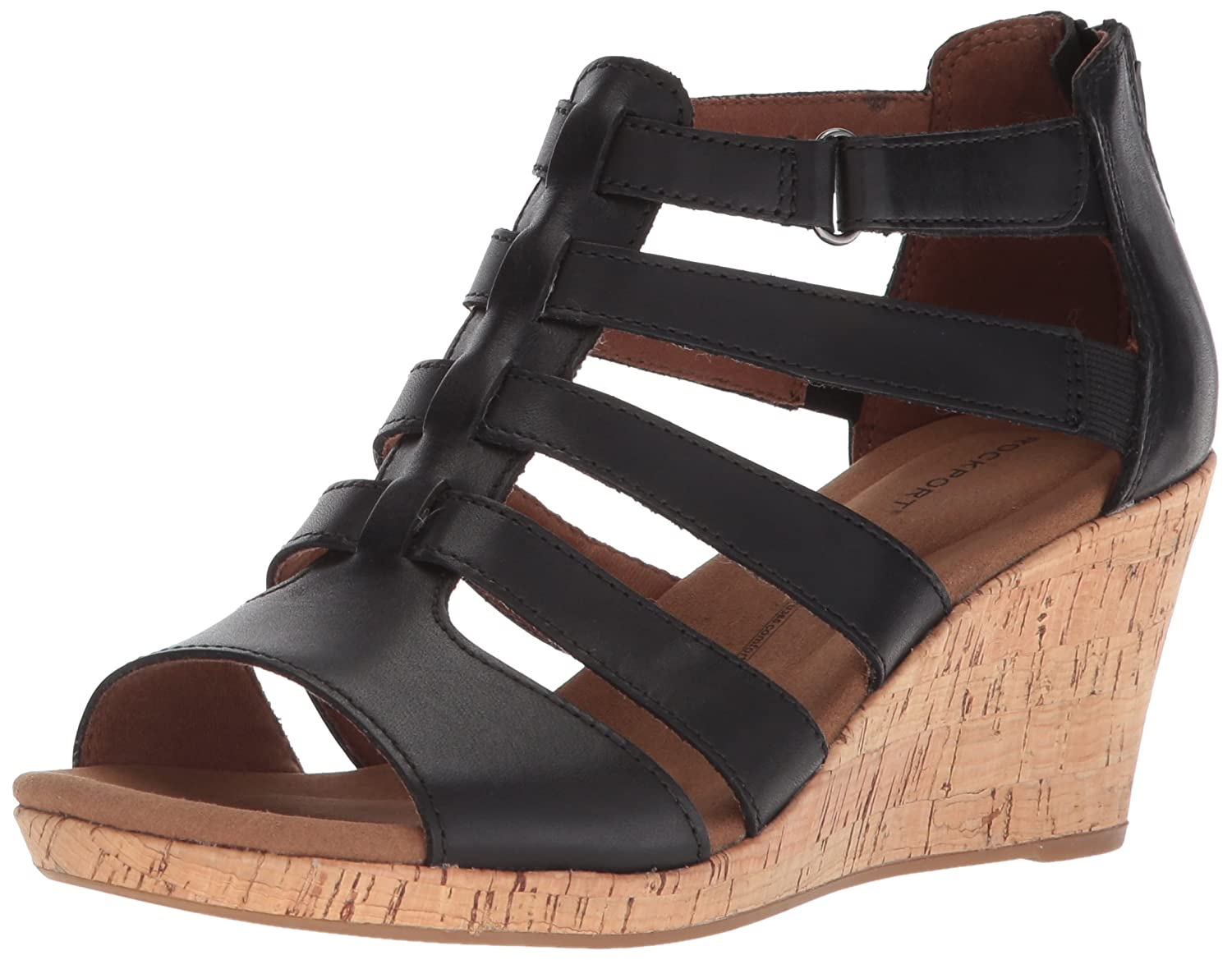 Black leather Rockport Women's Briah Gladiator Wedge Sandal