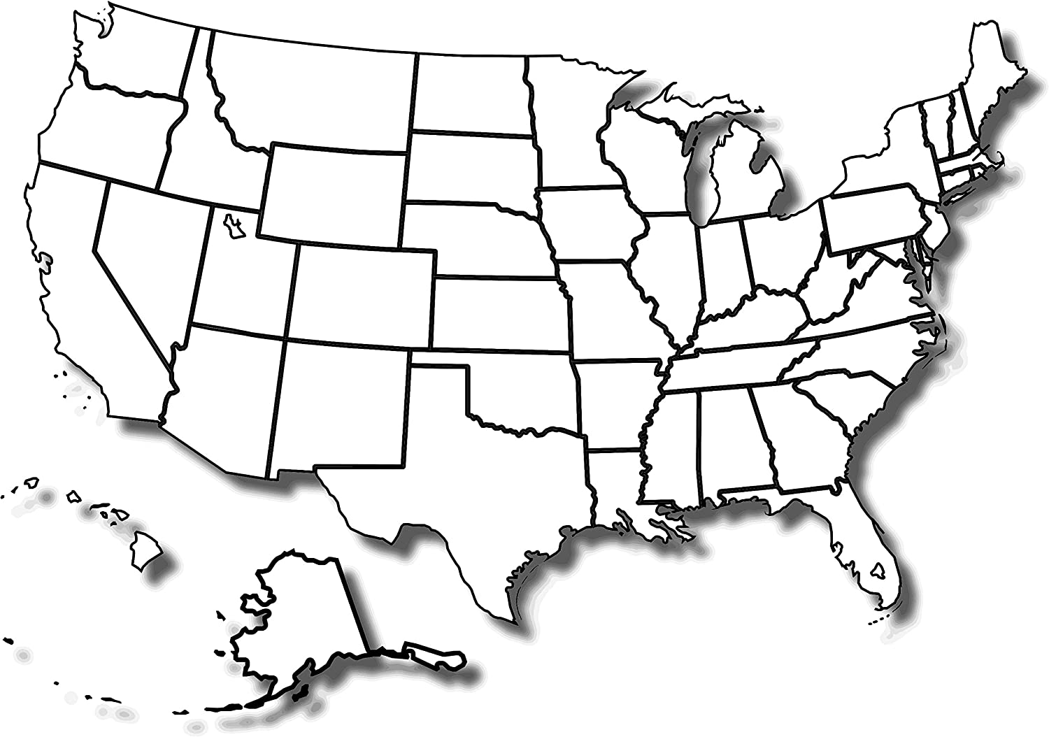 Black And White Us Map Printable Amazon.com: Map   Free Printable Blank Us Map of The USA Mr