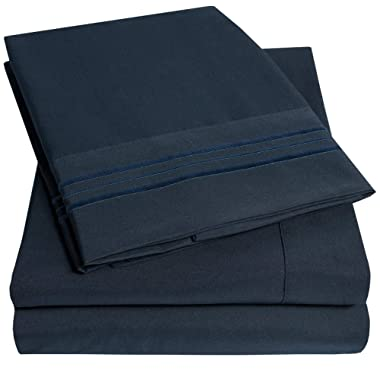 1500 Supreme Collection Extra Soft King Sheets Set, Navy Blue - Luxury Bed Sheets Set with Deep Pocket Wrinkle Free Hypoallergenic Bedding, Over 40 Colors, King Size, Navy