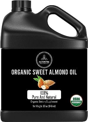 Naturevibe Botanicals Organic Sweet Almond Oil, 32 ounces