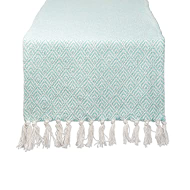 DII Braided Farmhouse Diamond Table Runner, 15 x 72 inches, Aqua