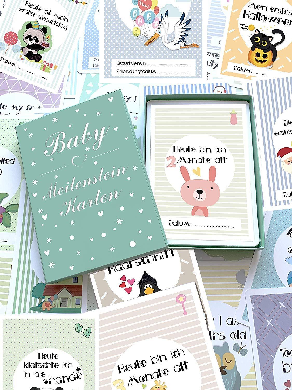 Geschenkset f/ür Junge und M/ädchen Lebensjahr Ideal als Geschenk zur Geburt Taufe Baby Meilenstein-Karten f/ür das 1 Milestone Cards DEUTSCH 50 liebevoll gestaltete Karten Schwangerschaft