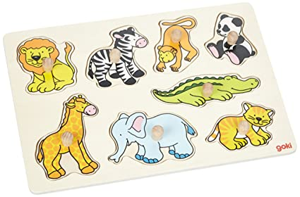 Goki Plug Zoo Animals Puzzle (8 Piece)