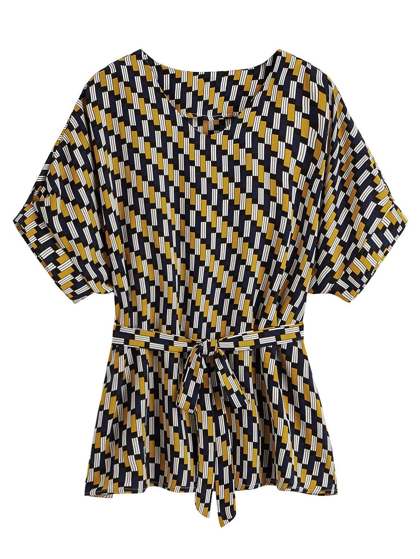 Women's 70s Shirts, Blouses, Hippie Tops Milumia Womens V Neckline Self Tie Short Sleeve Blouse Tunic Tops $19.99 AT vintagedancer.com