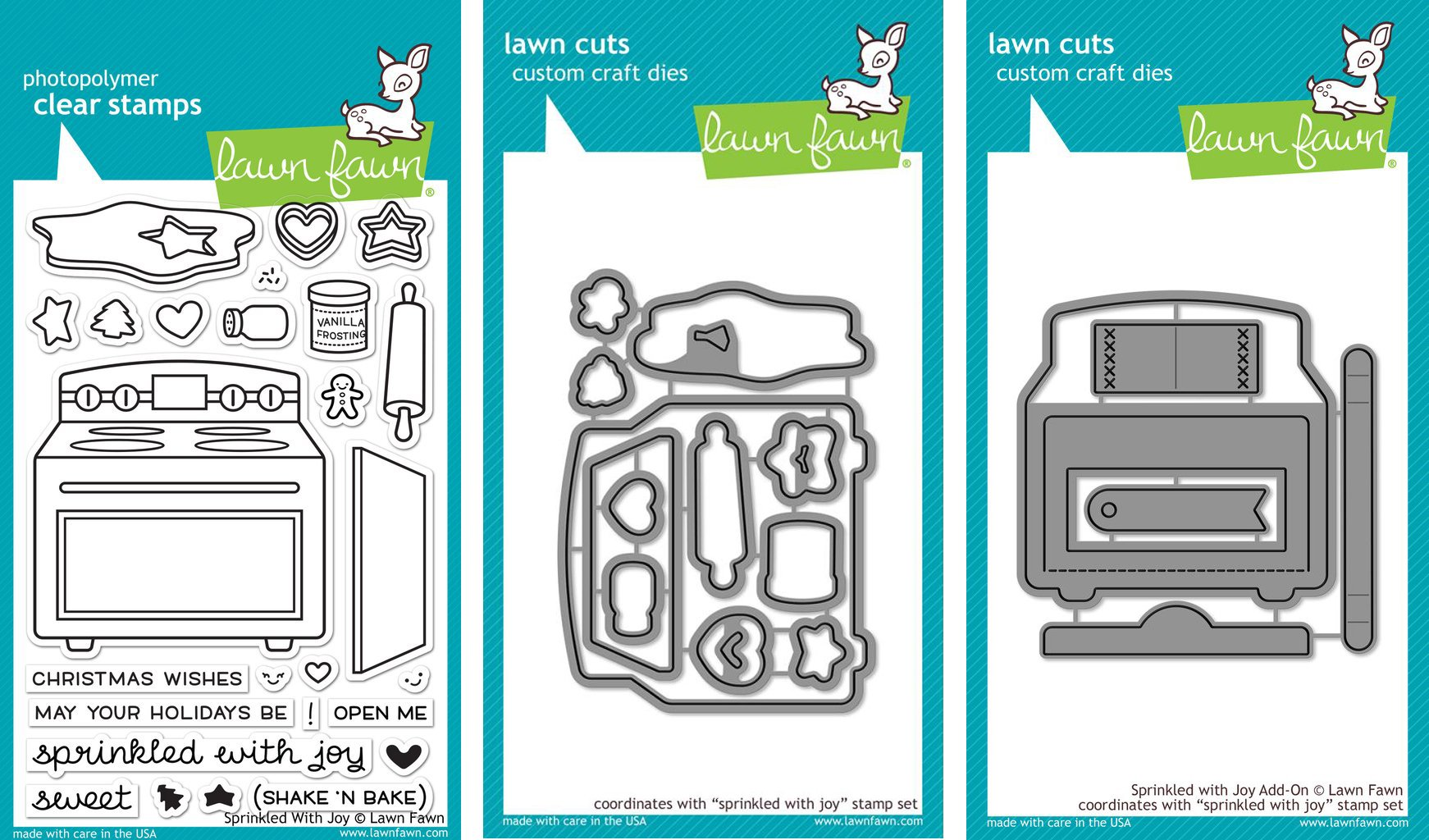 Lawn Fawn Sprinkled With Joy Clear Stamp & Die Set - Includes One Stamp (LF1214) & Two Dies (LF1215 & LF1271) - Bundle Of 3