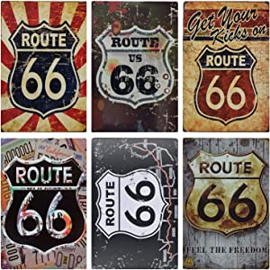 MGJJ Route 66 Retro Tin Sign for Home Decoration 6pcs 30cm20cm (7.8711.81inch)