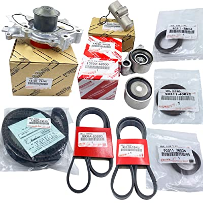 Timing Belt Water Pump Kit Replacement for T-oyota 3MZFE V6 3.3L Camry Sienna Solara OEM Replacement 10Pcs