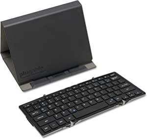 Plugable Bluetooth Keyboard Compatible with iPhones, iPads, Android, and Windows, Full-Size Bluetooth Portable Keyboard (11.5 Inches) with Case and Stand for Faster Typing and Editing on The Go