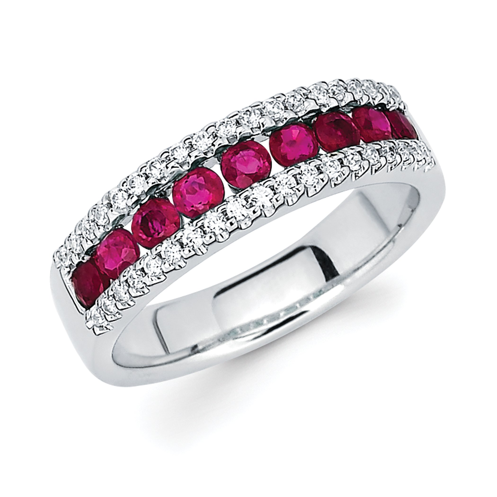 14K White Gold Channel Set Ruby and Diamond Accent Band Ring