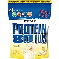 WEIDER Protein 80 Plus Eiweißpulver, Banane (Low-Carb, Mehrkomponenten Casein Whey Mix für Proteinshakes, 500g)