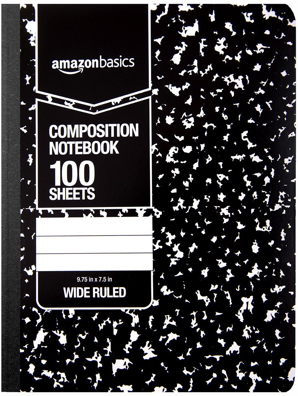 AmazonBasics Wide Ruled Composition Notebook, 100 Sheet, Marble Black, 36-Pack