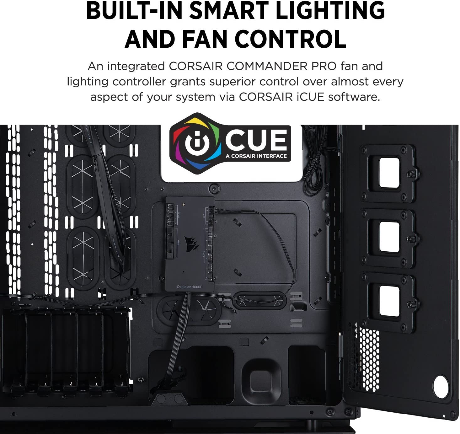 Smoked Tempered Glass CORSAIR OBSIDIAN 1000D Super-Tower Case Integrated COMMANDER PRO fan and lighting controller CC-9011148-WW Aluminum Trim