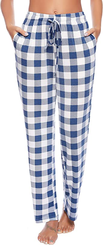 Amazon Com Vlazom Pantalones De Pijama A Cuadros Para Mujer Franela Clothing