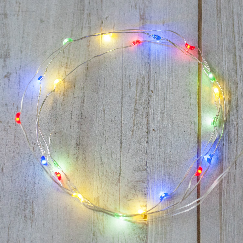 20er LED Draht Micro Lichterkette bunt Batteriebetrieb Lights4fun ...