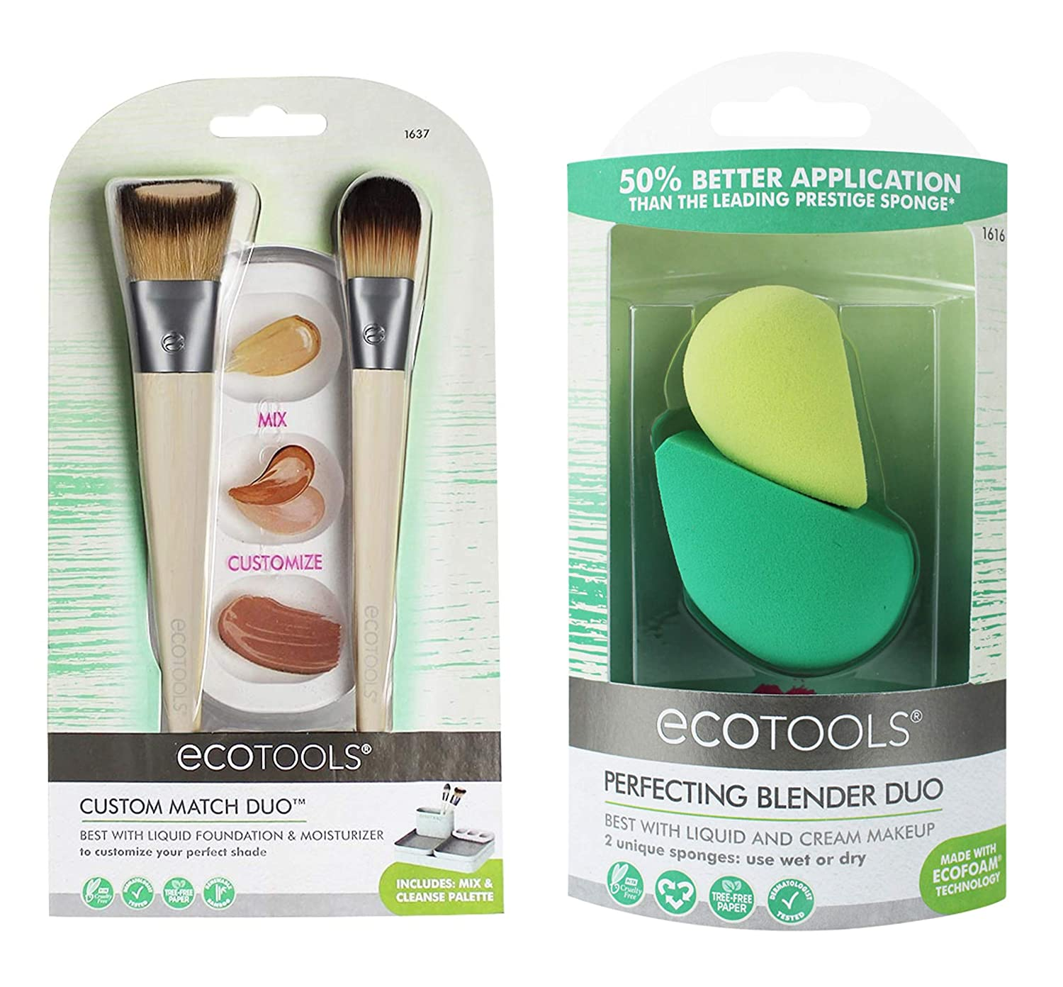 Ecotools Foundation Brush Set With Customizing Palette, Makeup Sponge Blender Duo