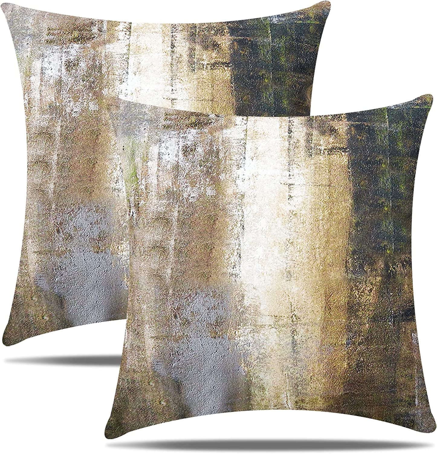 NEERYO Pack of 2 Soft Velvet Artwork Cushion Covers Decorative Abstract Art Throw Pillow Covers 18 X 18 Inches 45 X 45 cm for Couch Bedroom Farmhouse Decor Brown