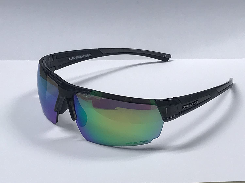b1c682e8773 Amazon.com  Rawlings 10230543.INT Mens Sport Sunglasses Black Green  Sports    Outdoors