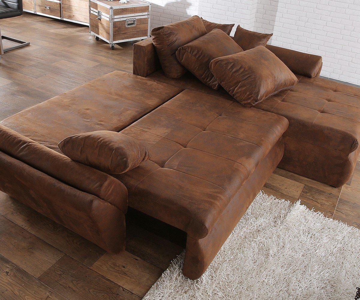 Ecksofa mit schlaffunktion braun  Couch Loana Braun 275x185 cm Ecksofa Schlaffunktion Ottomane ...