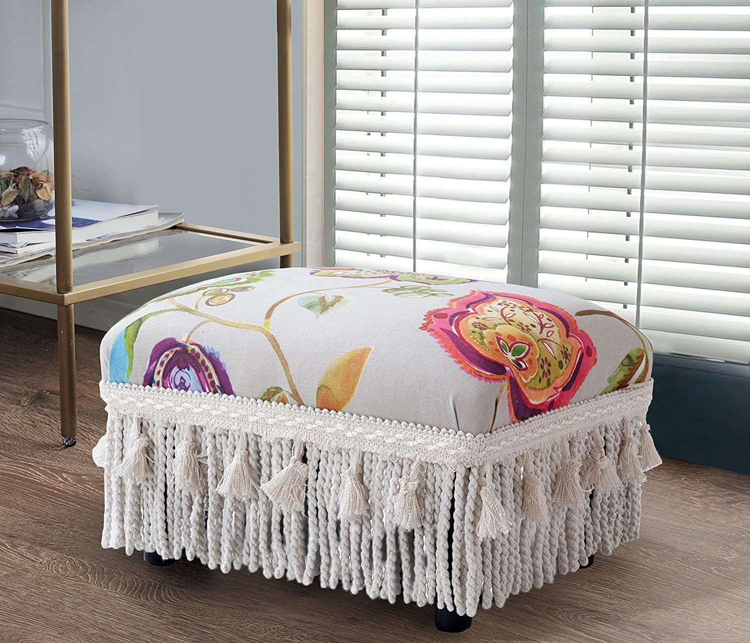 Jennifer Taylor Home Decorative Jennifer Taylor Fiona Collection Traditional Upholstered Rayon Blend Footstool With Fringe & Trim Tassels, Multi-Colored, Multicolor