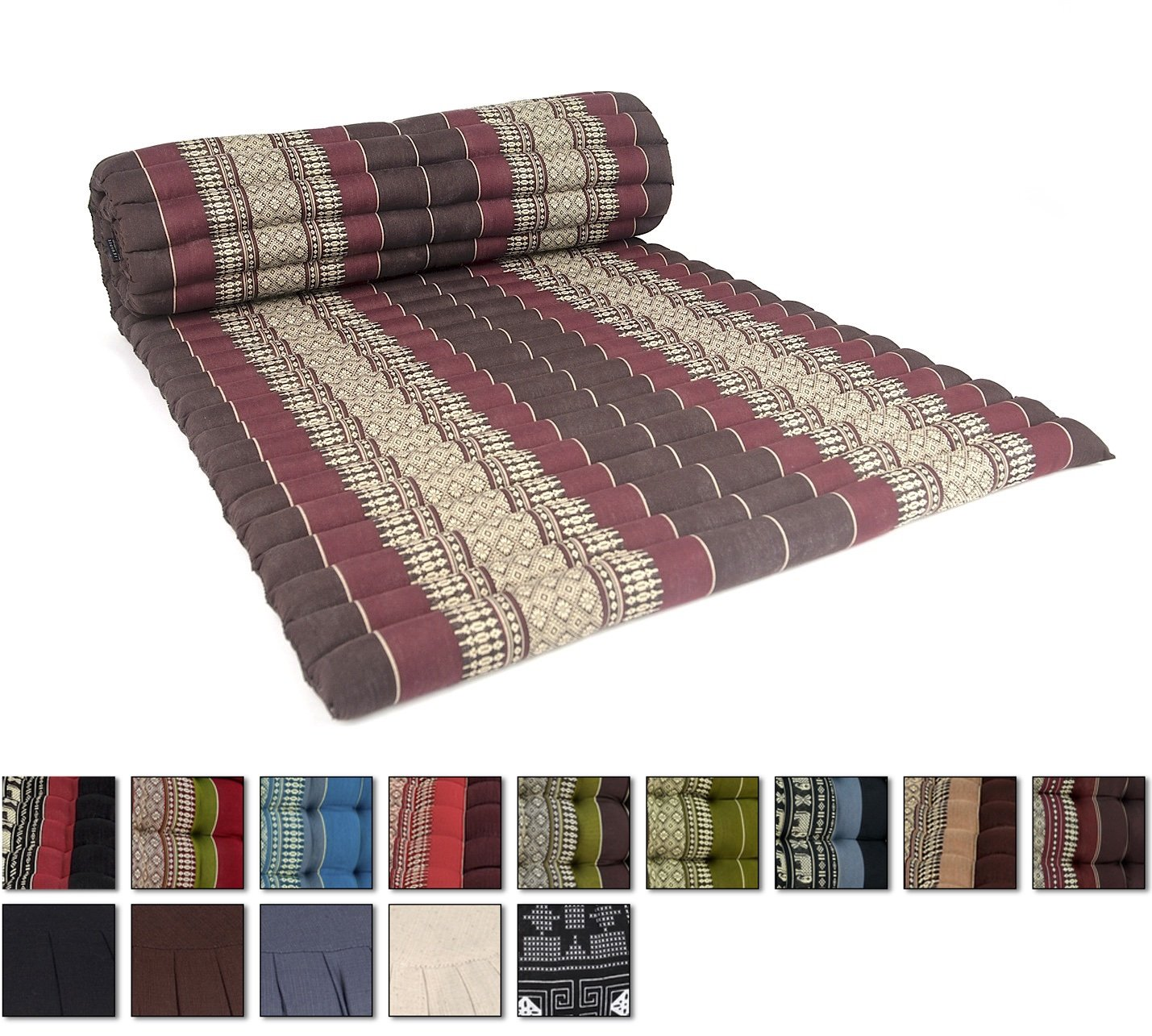 Leewadee Roll Up Thai Mattress, 79x30x2 inches, Kapok Fabric, Brown Red, Premium Double Stitched by Leewadee