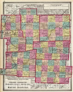 Historic Map - 1872 Ashland, Coshocton, Holmes, Knox, Richland, and Wayne Counties. - Vintage Wall Art - 44in x 56in