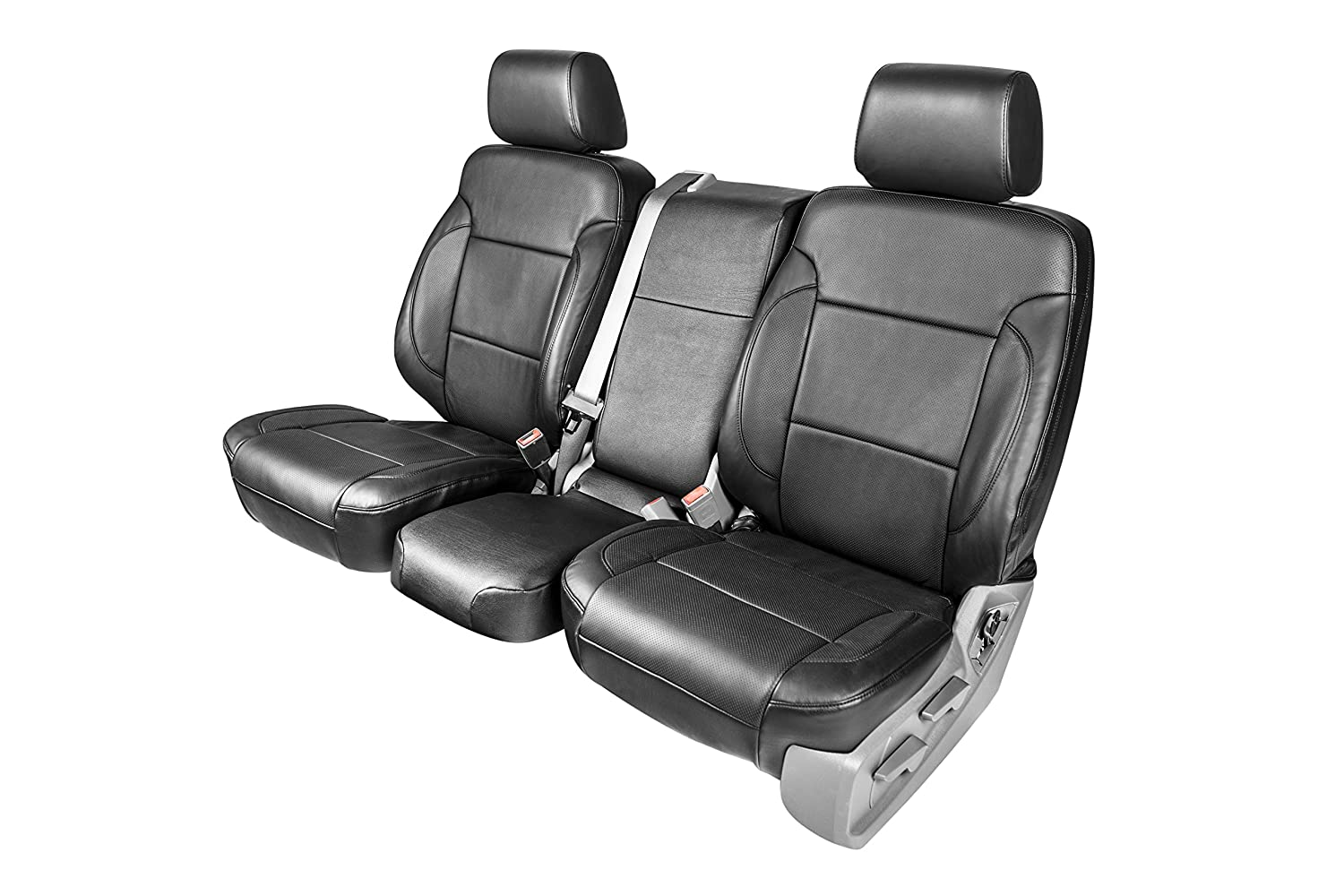 Clazzio 701511blk Black Leather Front Row Seat Cover for Dodge Ram 1500 Crew Cab