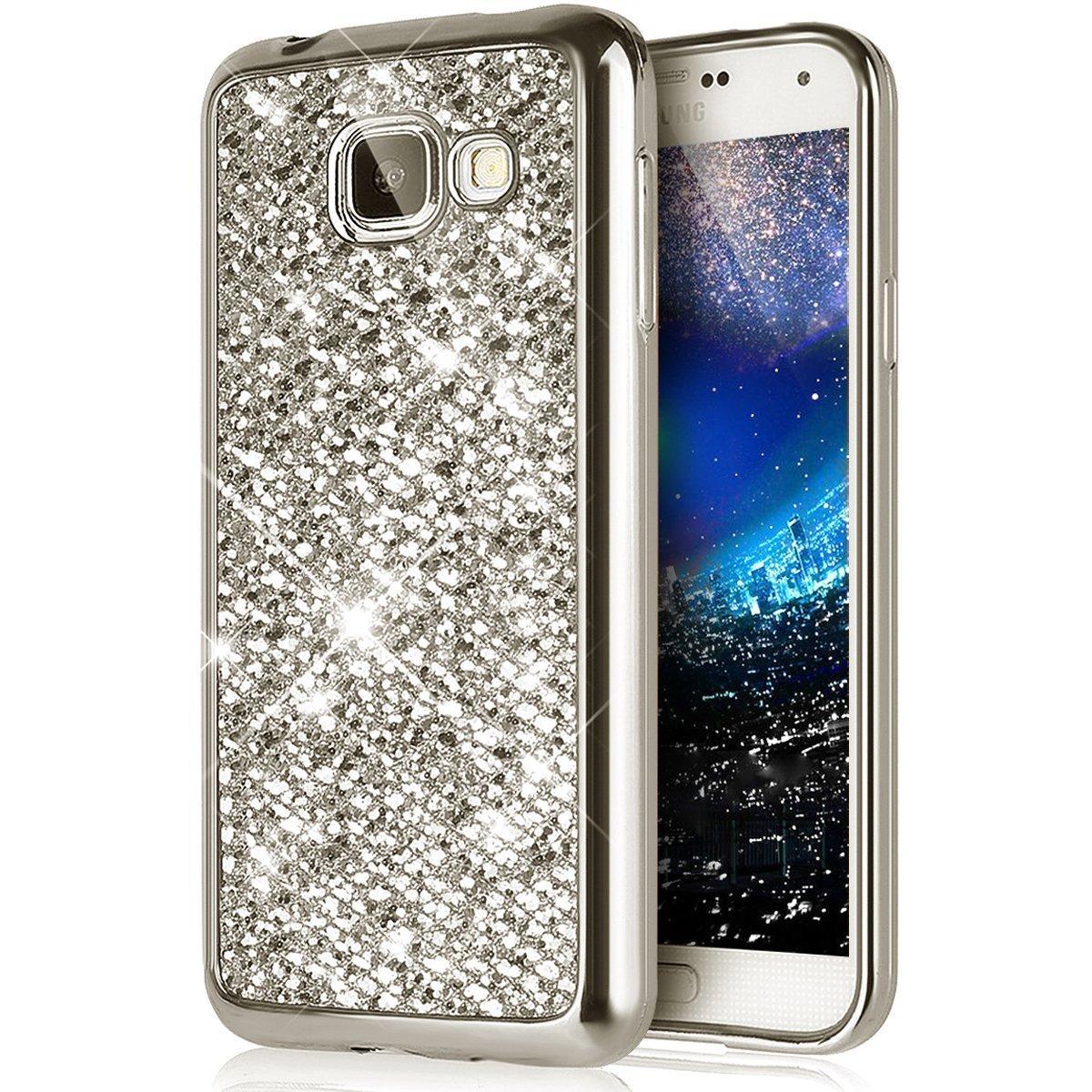 PHEZEN Galaxy J7 V ケース Galaxy J7 Perx ケース Galaxy J7 Sky Pro ケース グラデーションカラー フルボディ 360度 カバープロテクト ソフトクリアー TPU シリコンラバーケース Samsung Galaxy J7 2017用 PHEZEN08624 B076CH6496 Bling Silver Bling Silver