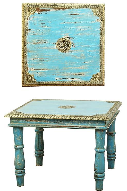 Orientalischer Couchtisch Beistelltisch Anjay 55cm Groß | Vintage kleiner  Tisch aus Holz massiv mit Messing verziert für Ihre Wohnzimmer | Niedriger  ...