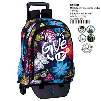 Montichelvo Detach.A.O.Trolley Cg Never Give Up Travel Tote, 43 cm, Multicolour