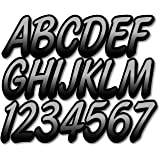 """Stiffie Whipline Silver/Black 3"""" Alpha-Numeric Registration Identification Numbers Stickers Decals for Boats & Personal…"""
