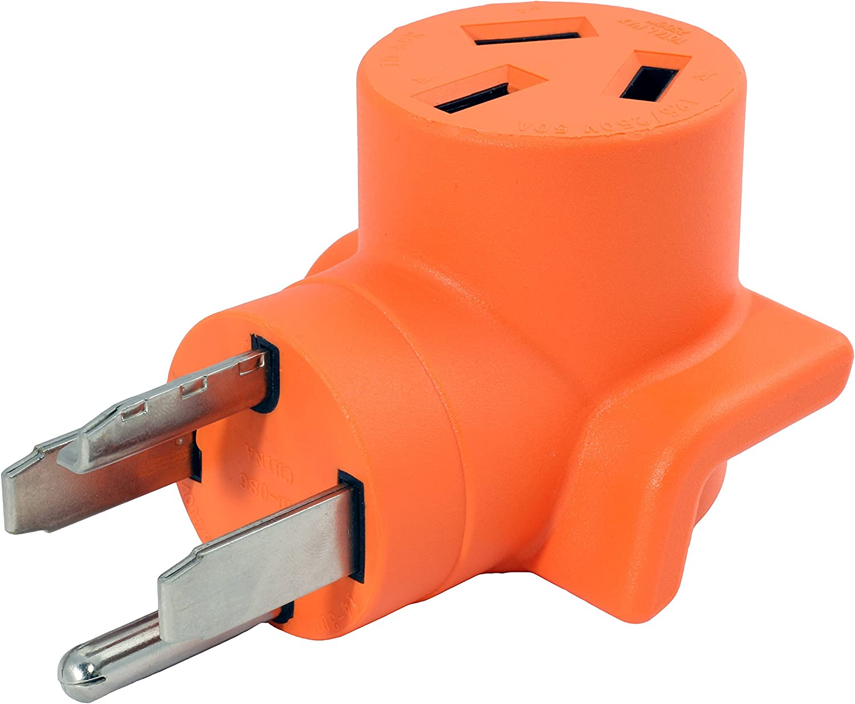 AC WORKS [WD14301050] 30Amp 4-Prong 14-30P Dryer Plug to 10-50R 50Amp 125/250V Welder adapter