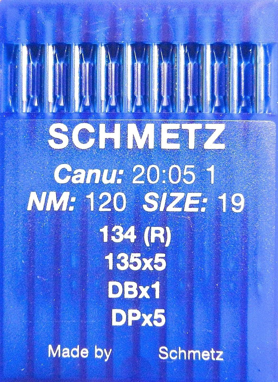 SCHMETZ - 10 agujas para máquina de coser (sistema 134 (R), industrial, St. 120)