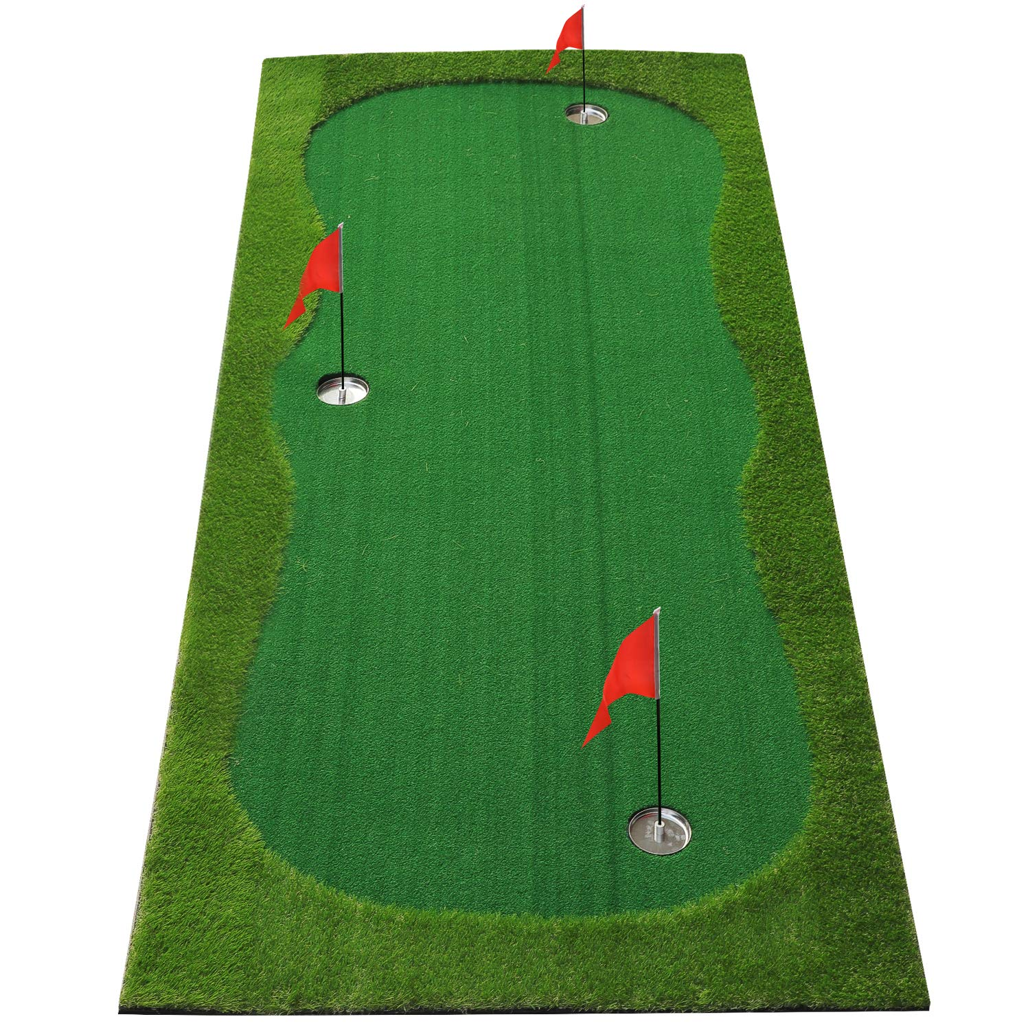 BOBURN Golf Putting Green/Mat-Golf Training Mat- Professional Golf Practice Mat- Green Long Challenging Putter for Indoor/Outdoor (Green, 4x10ft) by BOBURN