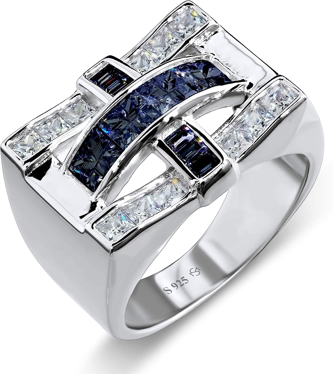 [2-5 Days Delivery] Men's Elegant Sterling Silver .925 Criss Cross Ring with Fancy White and Dark Blue Cubic Zirconia (CZ) Channel and Invisible Set Stones, Platinum Plated. By Sterling Manufacturers. Iced.