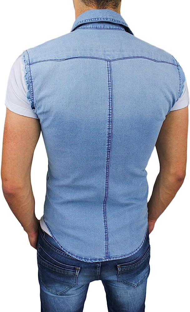 Evoga - Camisa vaquera sin mangas para hombre Slim Fit azul vaquero casual de verano sin mangas azul (blu denim) L: Amazon.es: Ropa y accesorios