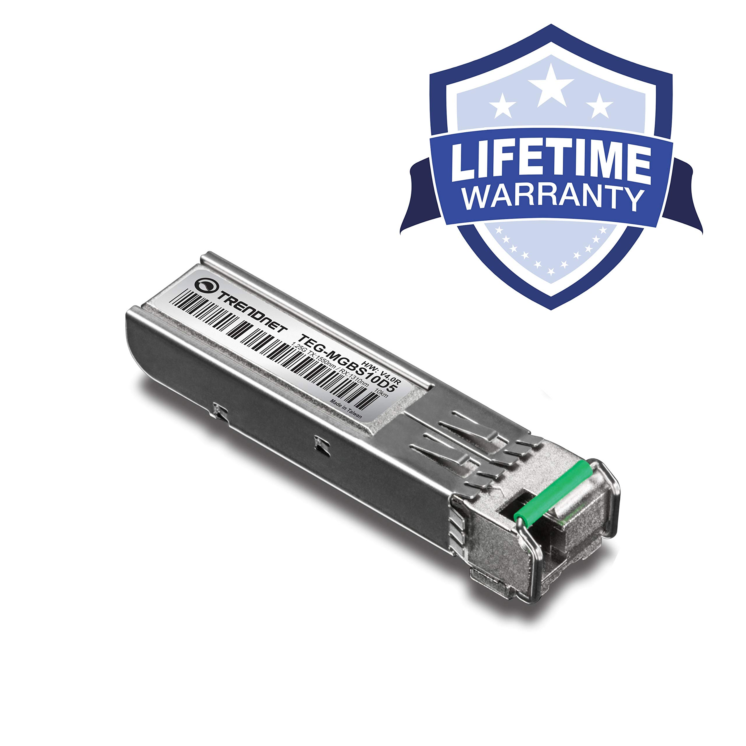 TRENDnet SFP Dual Wavelength Single-Mode LC Module, Up to 10 km (6.2 Miles), Must Pair with TEG-MGBS10D3 or other compatible module, Lifetime Protection, TEG-MGBS10D5