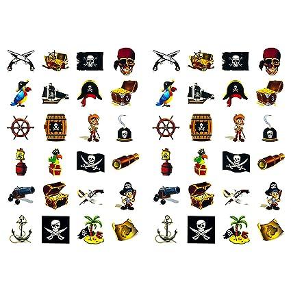 Oblique Unique Piraten Sticker Set 48 Kinder Aufkleber Verschiedene Piraten Motive Kinder Geburtstag Spielen