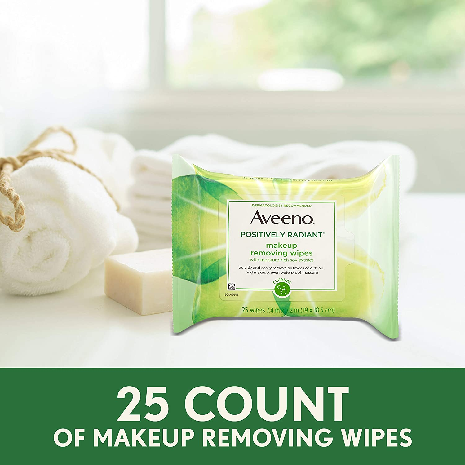 Aveeno Positively Radiant Oil-Free Makeup Removing Facial Cleansing Wipes to Help Even Skin Tone & Texture with Moisture-Rich Soy Extract, Gentle & Non-Comedogenic, 25 ct.: Beauty