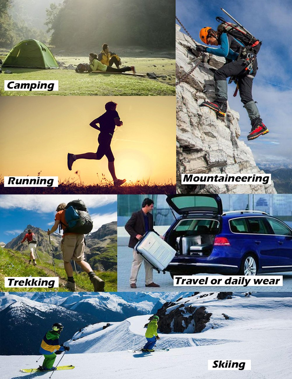 SUDILO Crew Cushion Hiking Trekking Socks,Coolmax Multi Performance Antiskid Wicking Outdoor Athletic Socks by SUDILO (Image #7)