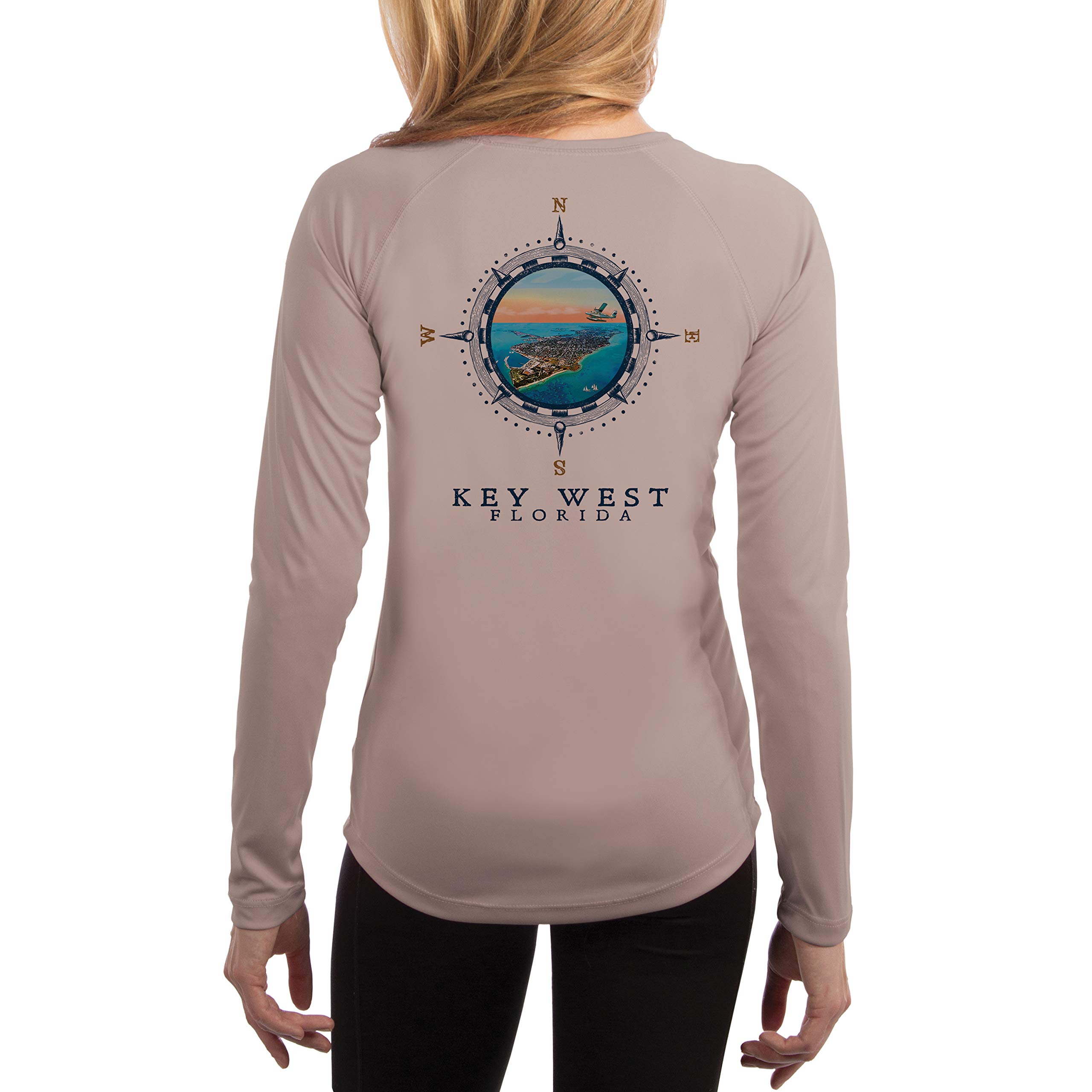 Compass Vintage Key West Women's UPF 50+ Long Sleeve T-Shirt Small Athletic Grey by Altered Latitudes