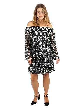 9a40f5b9719 Lovedrobe GB Womens Plus Size Two Tone Lace Bardot Dress: Amazon.co.uk:  Clothing