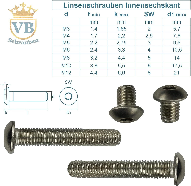 Flachkopfschrauben SC7380-2TX Linsenkopfschrauben mit Flansch und Innensechsrund 25 St/ück - M5x10 - Vollgewinde - ISO 7380-2 TX Flanschschrauben rostfreier Edelstahl A2 V2A ISR