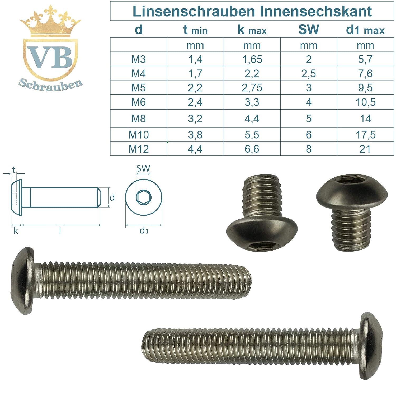 | Flachkopfschrauben ISO 7380 VB-Schrauben Linsenschrauben Vollgewinde M8x8 | 10 St/ück Edelstahl A2 rostfrei V2A Innensechskant ISK Linsenkopfschraube