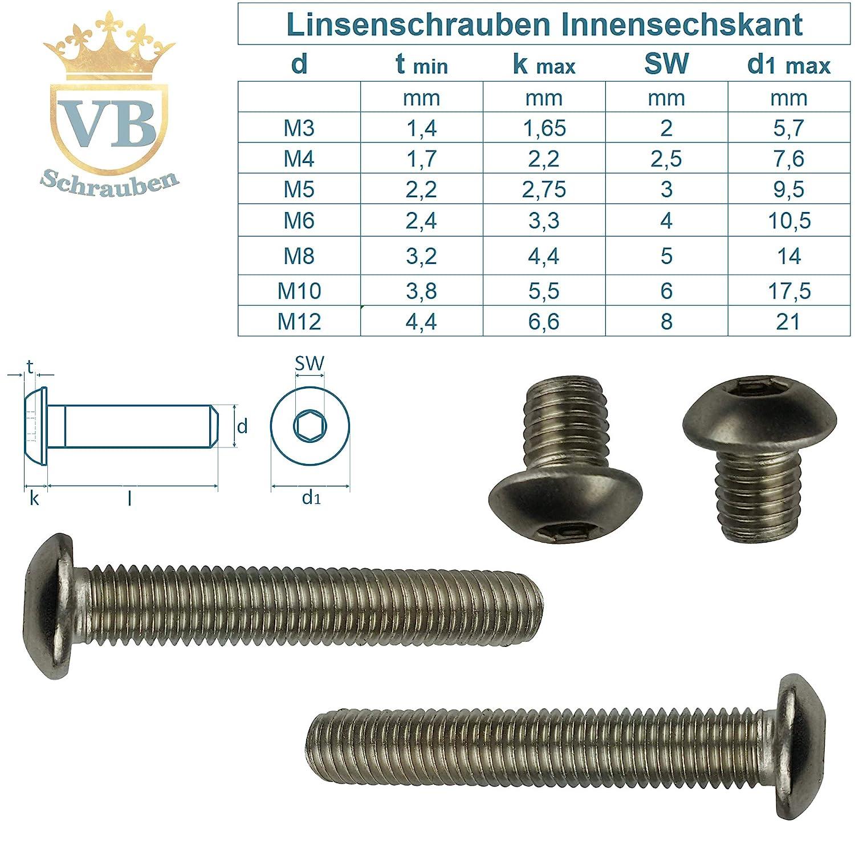 Cabeza de lenteja 10/unidades ISO 7380/Hex/ágono Interior ISK